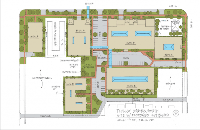 The preliminary site plan for the proposed Trolley Square mixed-use development. Image courtesy Salt Lake City planning documents.