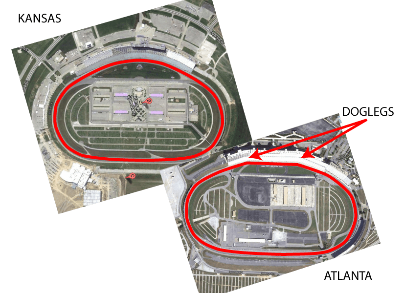 Google Earth pictures comparing a D-Shaped Oval and a quad-oval