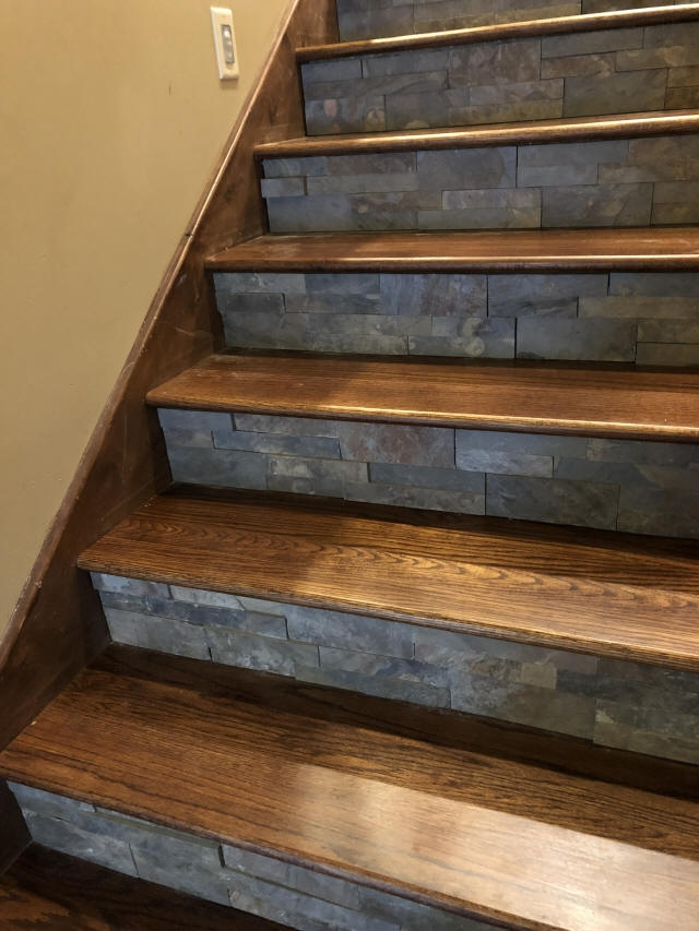 Staining And Installing Hardwood Stairs Remodel Old Carpet Stairs   Stained Stairs And Risers   Two Tone   Natural   Bead Board   Gray Painted   Finished