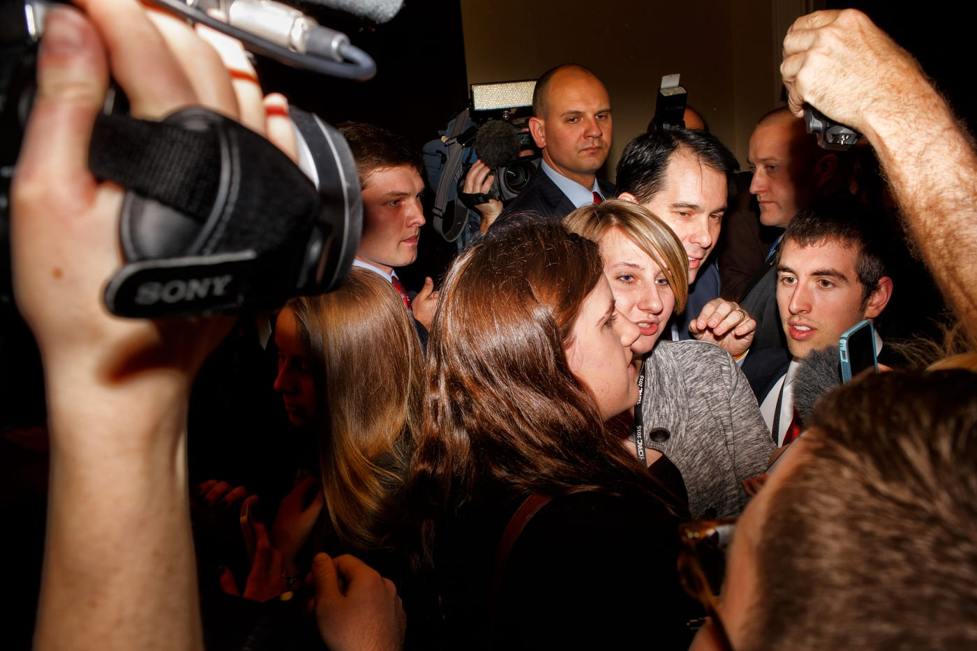 Wisconsin Governor Scott Walker is mobbed after speaking at CPAC in National Harbor, MD on Friday, February 27, 2015.