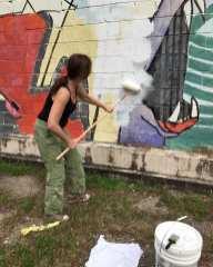 Marti Corn, priming the wall by Judy Sherrod