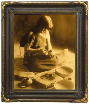 Edward S. Curtis, The Potter (Nampeyo), Hopi, 1904, goldtone, 17 x 14""