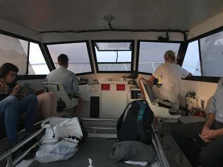 Ferry captains delivering us through the inlet to the island dock. ©NancyMcCrary