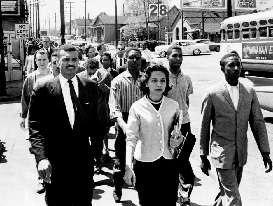 Black leaders march down Jefferson Street at the head of a group of 3000 demonstrators April 19, 1960, and heading toward City Hall on the day of the Z. Alexander Looby bombing. In the first row, are the Rev. C.T. Vivian, left, Diane Nash of Fisk, and Bernard Lafayette of American Baptist Seminary. In the second row are Kenneth Frazier and Curtis Murphy of Tennessee A&I, and Rodney Powell of Meharry. Using his handkerchief in the third row is the Rev. James Lawson, one of the advisors to the students. News reporters believed it marked the first time Rev. Lawson had participated in a demonstration downtown. Jack Corn for The Tennessean