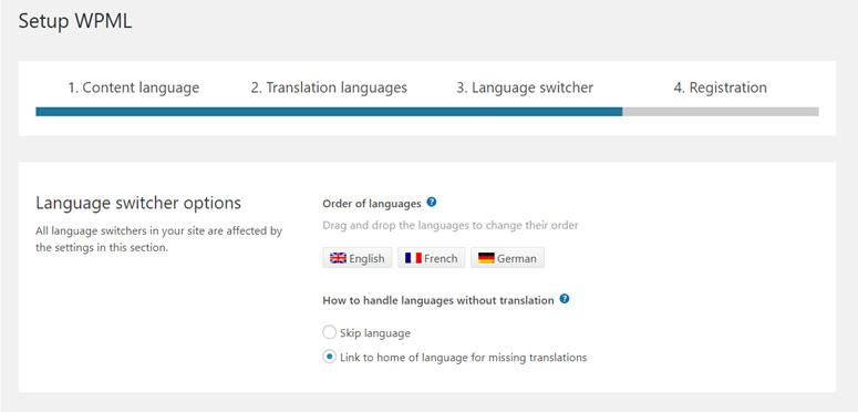 اختيارات مبدل اللغة