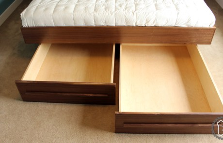 Mid-Cenurty Modern style bed side tables with integrated cable holes