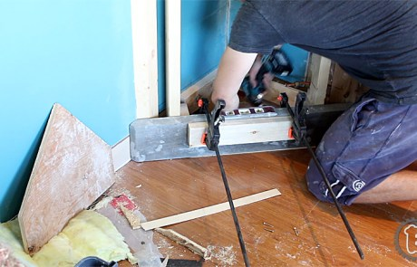 Miter Saw to Hexagon into Hardwood Floor
