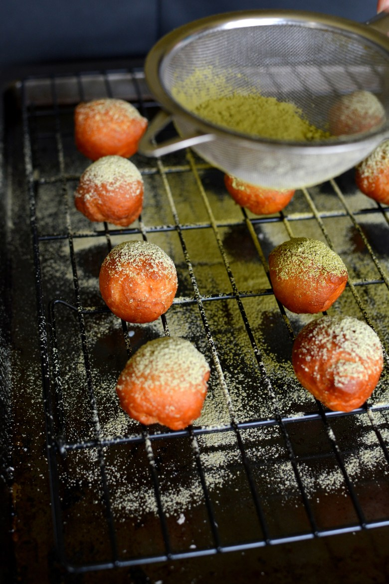 Green Tea Powdered Donut Holes 035