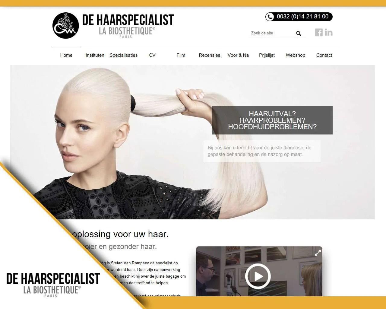 Website De Haarspecialist door Buitengewoon Communicatie Averbode | Webdesign