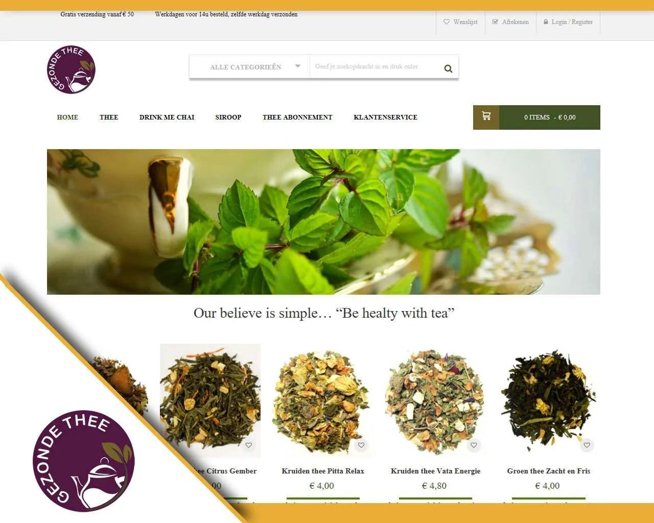 Webshop Gezonde Thee door Buitengewoon Communicatie Averbode | Webdesign webshops