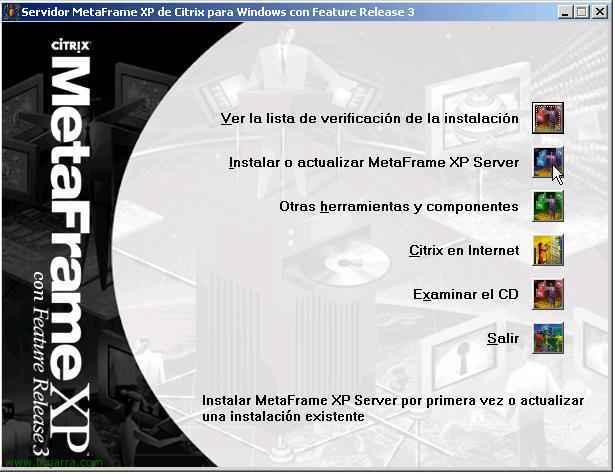 Instalación de Citrix Metaframe XP SP3