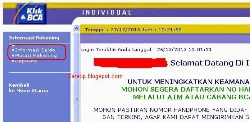 Cek Saldo BCA Dari Internet Banking