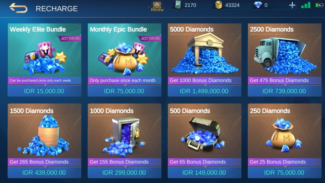 Cara Top Up Diamond Mobile Legends