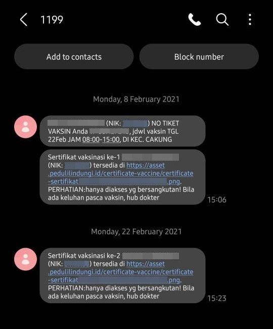 Cek Sertifikat Vaksin Covid-19 Lewat SMS