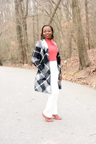 Plaid jacket + Pink tie neck top + white straight leg ponte pant graphic