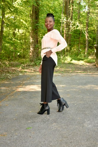 Is blush becoming the new black? Blush blouse with ruffles, culottes+ lace up booties graphic