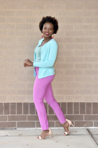 Feeling bright today in my mint green and purple outfit. graphic