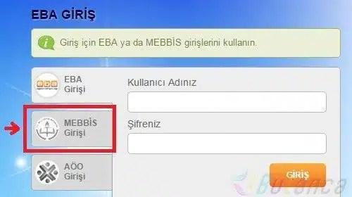 EBA MEBBIS Giriş