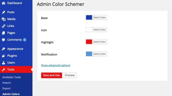 admin renk planları