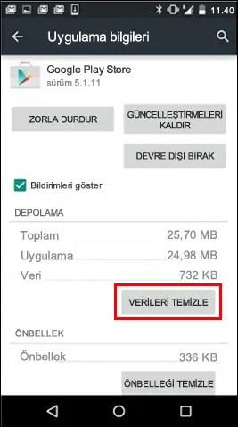 google play verileri temizle