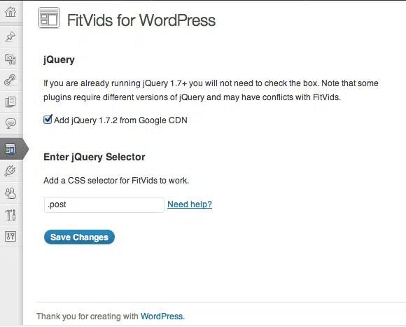 fitvids wordpress ayar