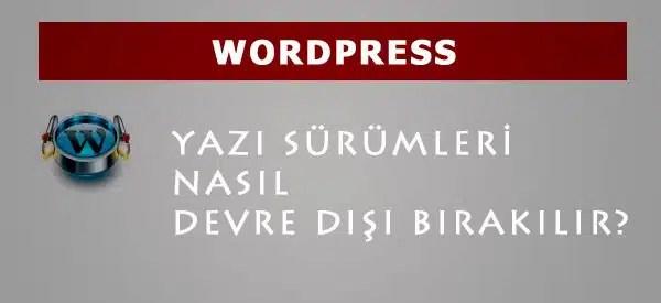 wordpress disable revision