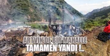 Artvin'de bir mahalle tamamen yandı