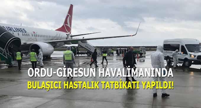 Ordu-Giresun Havalimanında Bulaşıcı Hastalık Tatbikatı