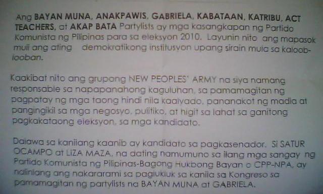 Poison Letter Against Senatorial Bets Circulated Bulatlat