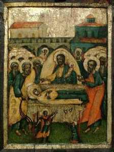 "Успение Богородично, икона от около 1807 г., Неизвестен автор. Излижена в постоянна експозиция ""Християнско изкуство"" в художествена галерия"