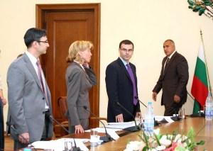 Заседание на МС (дясно на ляво) Премиерът Борисов, министрите на финансите Дянков и на външните работи Желева. ФОТО:пресклуб