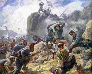 """Картината """"Бой за Шипка"""" на Димитър Гюдженов, която е част от колекцията на Президентството, показва как срещу турците се сражават български опълченци.Една от най-важните за развоя на военните действия битки е за прохода Шипка в Стара планина. Там през август отряд от руски воини и български опълченци три дни се сражава срещу настъпващата от юг армия на Сюлейман паша, превъзхождаща го над 4 пъти по численост. Нашите герои проявяват чудеса от храброст, като това добре е описано от поета Вазов."""