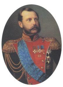 Александър II Николаевич е император на Русия, цар на Полша и велик княз на Финландия (1855 — 1881 г.) от династията Романов-Холщайн-Готорп. Александър II е известен с либералните реформи, които извършва в руското общество. Най-значима сред тях е отмяната на крепостничеството през 1861 г., която му донася прозвището Цар Освободител. Русия излиза като главен победител във войните с Наполеон и като такъв фаворизира Източния въпрос в своя полза.  Концепцията на Руската империя за решаване на Източния въпрос през първата половина на 19 век не предвижда възстановяване на българската политическа независимост, като даже Русия се изявява през 30-те години на века като крепител на Pax Ottomana. През 1867 г. Александър II продава за 100 години на САЩ руските права върху Аляска, която от 1799 г. е експлоатирана съвместно от двете страни. След 1866 г. срещу него са извършени осем атентата, при последният от които той е убит. На 16 април 1841 г. Александър Николаевич се жени за Мария Хесенска, дъщеря на великия херцог на Хесен-Дармщад Лудвиг II, която приема името Мария Александровна с която има 8 деца. По-малко от месец след нейната смърт, на 6 юли 1880 г., той сключва морганатичен брак с дългогодишната си любовница княгиня Екатерина Долгорука, от която вече има три деца известни с фамилията си Романови.