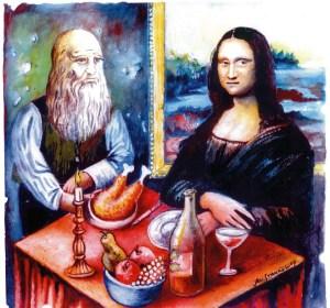 Западният Майстор и неговата дама на Източната маса в България. Създателя Майстор Леонардо и творението му Джокондата сядат на една маса резервирани от тях и за тях, като задължително оставят добър тип (бакшиш) на сервитьорите и запазват местата си за възможно най-дълго време. На масата трябва да бъде добре заредена с сочни родни ястия, приготвени по чужди рецепти. Трохи от масата винаги се оставят за преминаващите тихи или скандиращи близки и еднородници на сервитьора. Карикатура: Анатоли Станкулов
