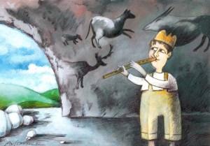 """Свирката на водача на стадото в парламента не се чува. А и стадото вече е само по стените на пещерите. """"Картината наистина е много страшна. Много съм си блъскал главата защо това се случва. Накрая реших, че просто ние си отиваме. Няма вечни народи. Топим се с половин процент годишно"""", Проф. Михаил Константинов. Карикатура: Анатоли Станкулов"""