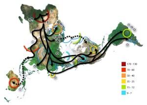 Световна карта на човешките преселения, със Северния полюс в центъра. Африка дала началото на миграцията , е в горния ляв ъгъл и Южна Америка е най-вдясно. Миграционните модели са базирани на проучвания на митохондриалната ДНК. Прекъснатите линии са хипотетични миграции. Цифрите представляват хиляда години преди настоящето. Синята линия представлява площ, покрита с лед или тундра по време на последния голям ледников период .