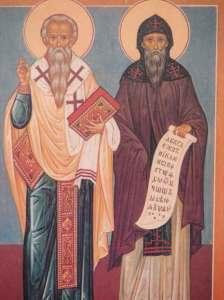 Св. св. Кирил и Методий са двама братя през 9-ти век, които развиват основна дейност като емисари на християнството за славяните от Великоморавия и Панония. За своята работа, която значително ще повлияе на културното развитие на славяните, са наречени апостоли на славяните. На тях се дължи създаването на азбуката глаголица - първата азбука, която служи за писменост на езика староцърковен славянски. Азбуката кирилица, създадена на основата на тази глаголица, се използва и до днес в различни славянски езици.