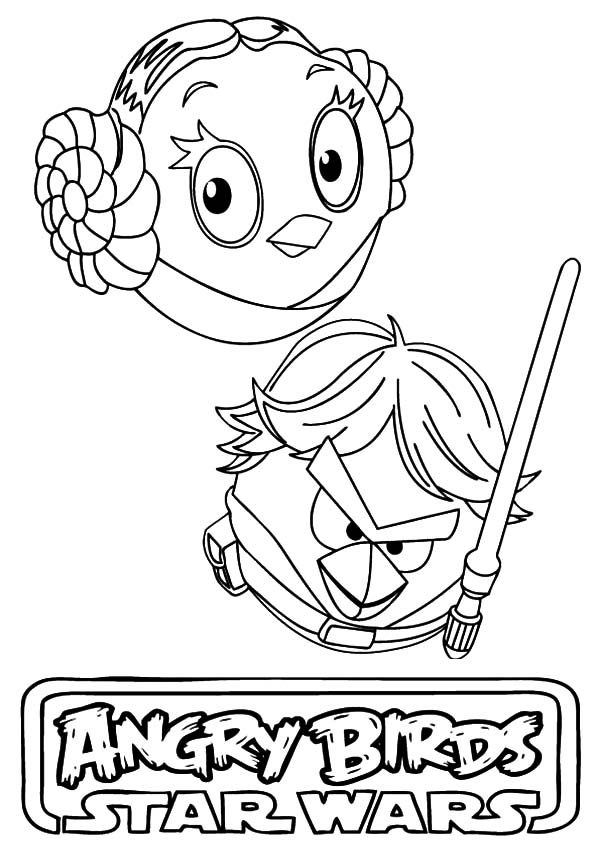 angry bird star wars princess leia and han solo coloring pages