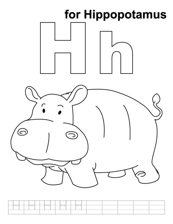 Cute Hippo Learn Letter H Coloring Page Bulk Color
