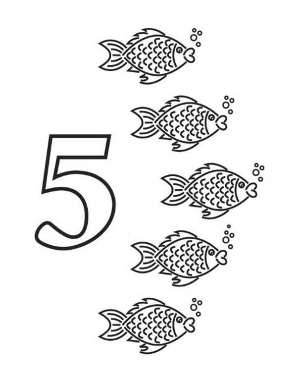 Number names worksheets number 5 coloring page free for Number 5 coloring page