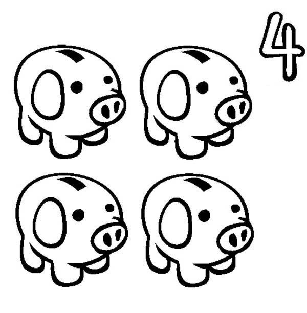 learn number 4 with four piggy banks coloring page bulk color