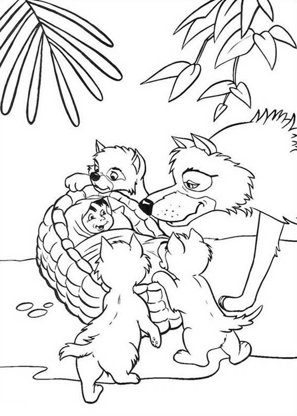 little mowgli found by akela in jungle book coloring pages bulk