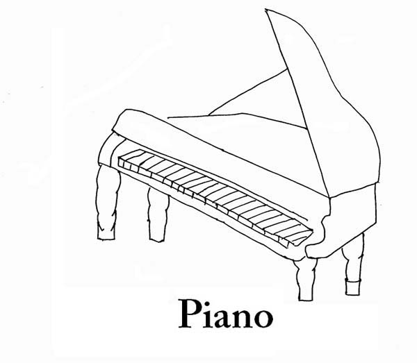baby grand piano floor plan sketch coloring page