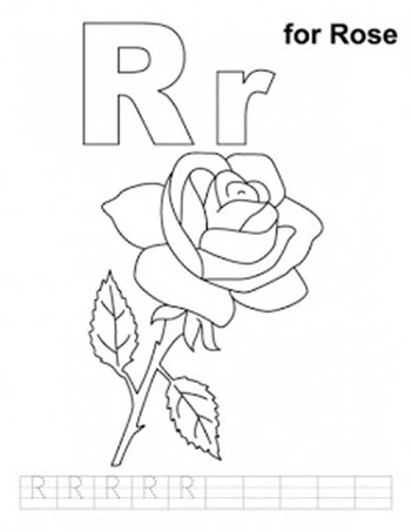 preschool kids learn upper case and lower case letter r coloring