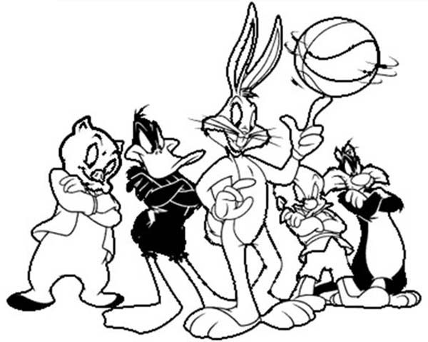 space jam looney tunes basketball team coloring pages bulk color