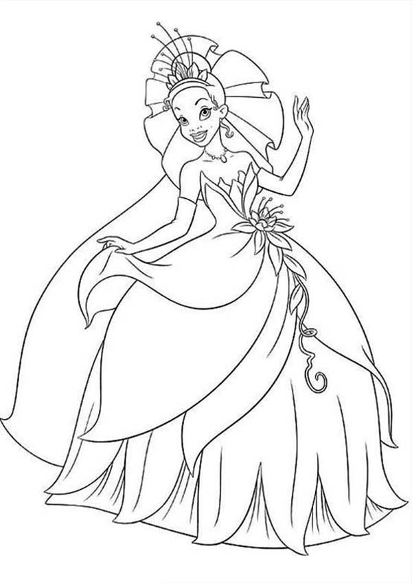 princess tiana floral gown in princess and the frog coloring pages