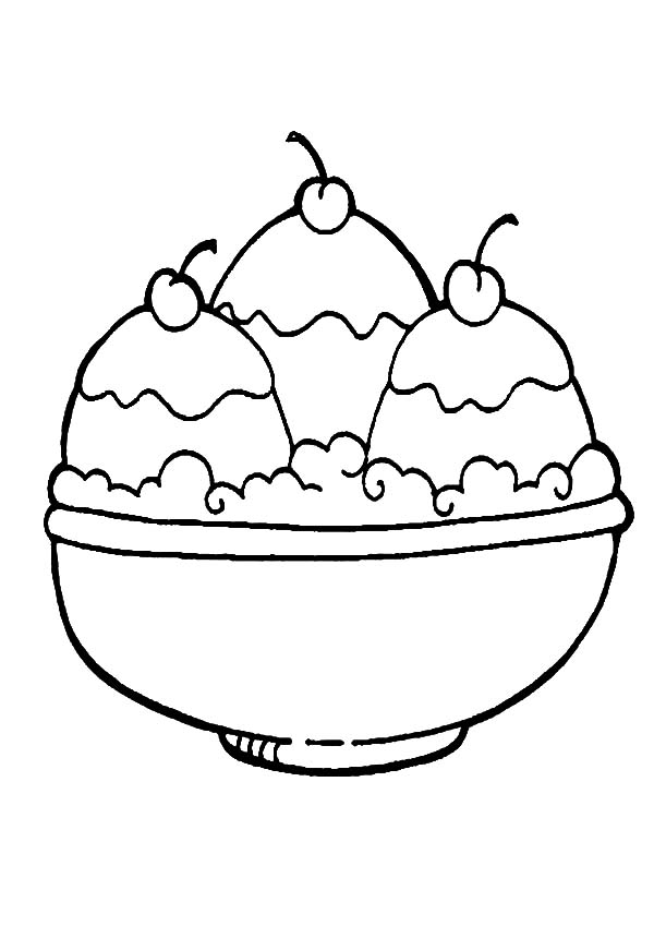 ice cream a full bowl of ice cream coloring pages a full bowl of ice