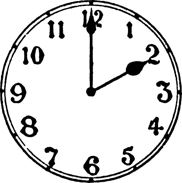 analog clock pointing at two o 39 clock coloring pages bulk color