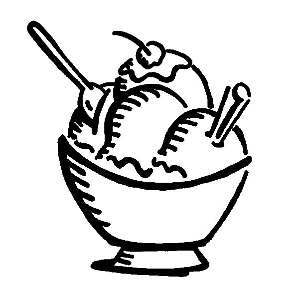 delicious ice cream with cherry on top coloring pages