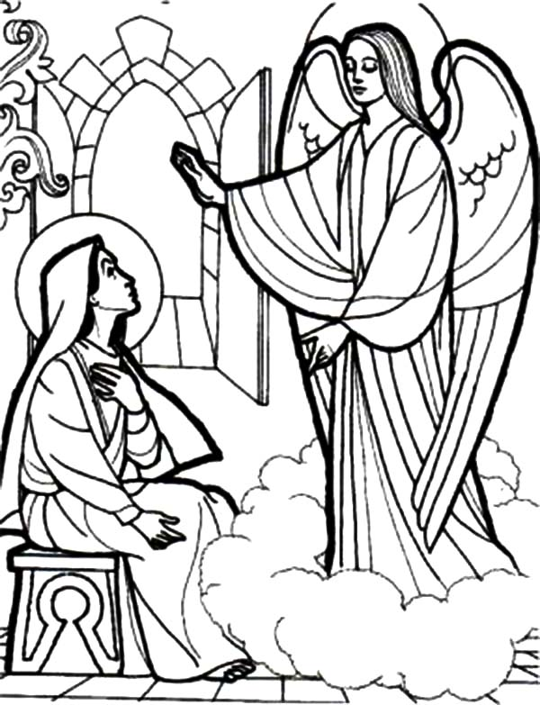 how to draw an angel appears to mary coloring pages bulk color